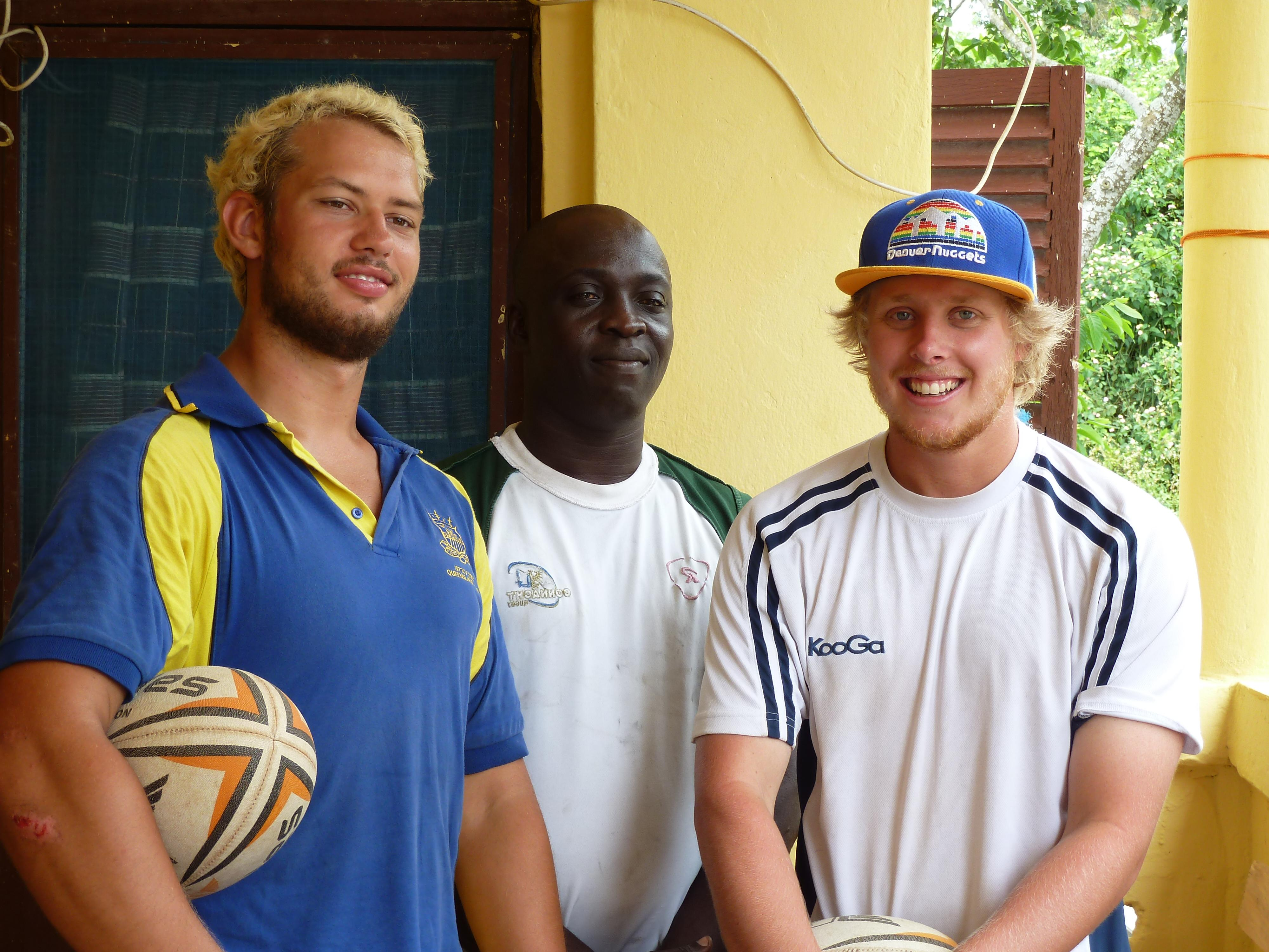 Sports instructors prepare for their volunteer rugby coaching in Ghana